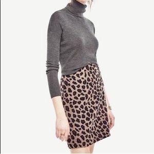 Ann Taylor Leopard Print Wool Blend Skirt